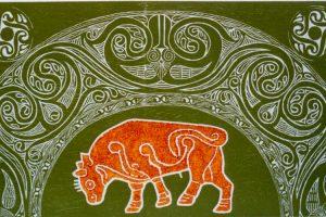 TOURO SAGRADO. Grabado (Xilocolografía, 29 x 49,5 cm) 1998