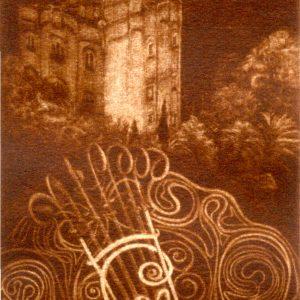 """Exlibris Marià Casas Hierro. """"Casa e iniciales en enrejado de Gaudí"""", 2010. C7"""