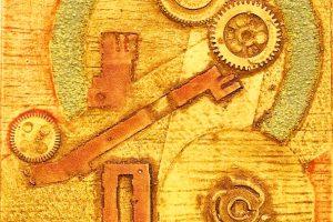 MACHINE V. Grabado (Xilocolografía 10 x 10 cm). 2002