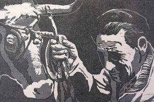 O DÍA DE FEIRA. Grabado (Camafeo 24 x 42 cm). 1995