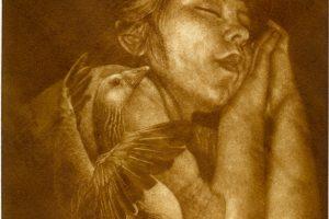 SENTIRÁS EL VUELO DE LA NOCHE. Grabado (Mezzotinta 25 x 20 cm). 2007