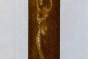 DESNUDO CON CALAS. Grabado (Mezzotinta y gofrado, 27 x 16 cm). 1996