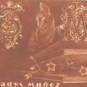 "Exlibris Gladys Muñoz, 2015. ""Gato, libro con flores e iniciales"" C7"