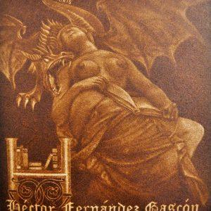 """Exlibris Héctor Fernández Gascón, 2014. """"Dragón protege libro de mujer durmiendo"""" C7"""