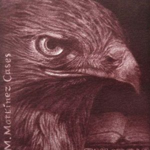 """Exlibris J.M. Martínez Cases, 2013. """"Águila con libro abierto al fondo"""". C7"""