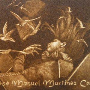 """Exlibris José Manuel Martínez Cases, 2013. """"Joven durmiendo entre libro y palomas volando"""". C7"""