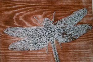 LIBÉLULA II. Grabado (Xilocolografía 30 x 41,5 cm). 1998